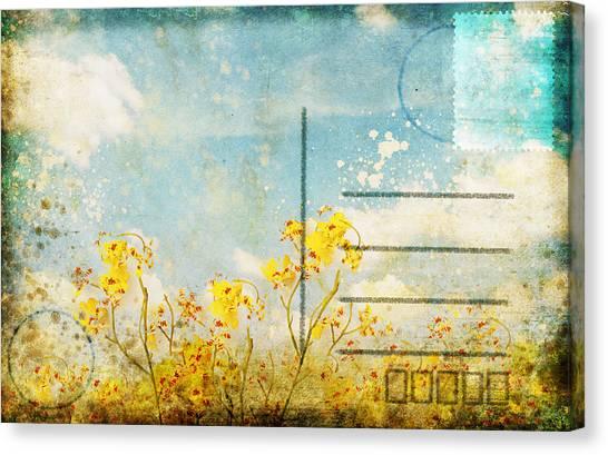 Blossom Canvas Print - Floral In Blue Sky Postcard by Setsiri Silapasuwanchai