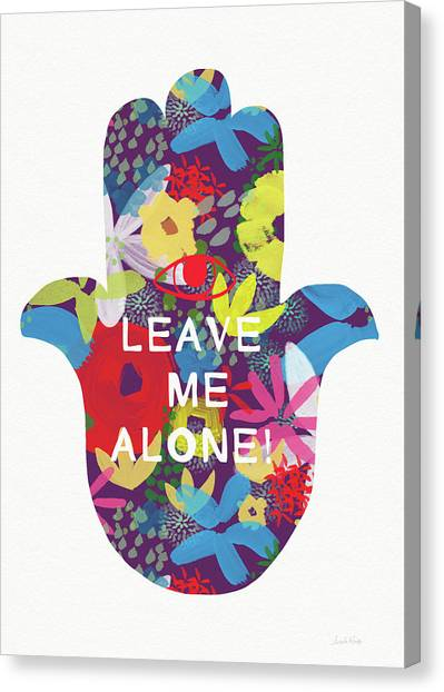 Mercury Canvas Print - Floral Leave Me Alone Hamsa-art By Linda Woods by Linda Woods