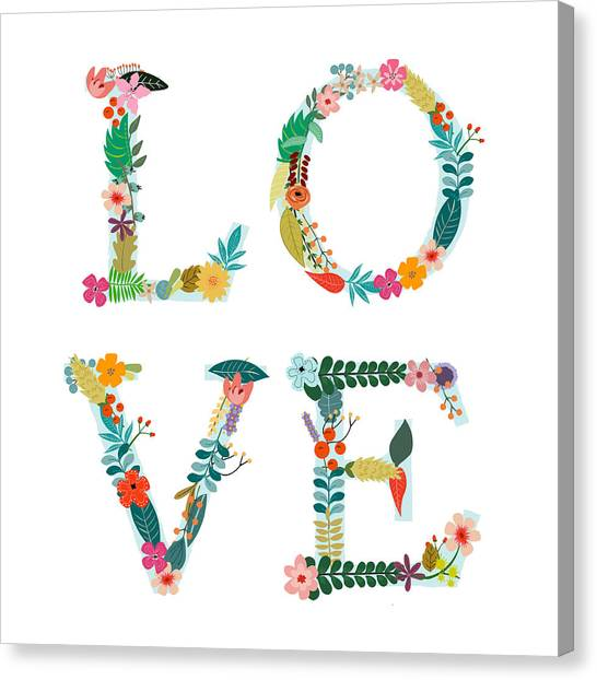Canvas Print - Floral Love Letters by Amanda Lakey