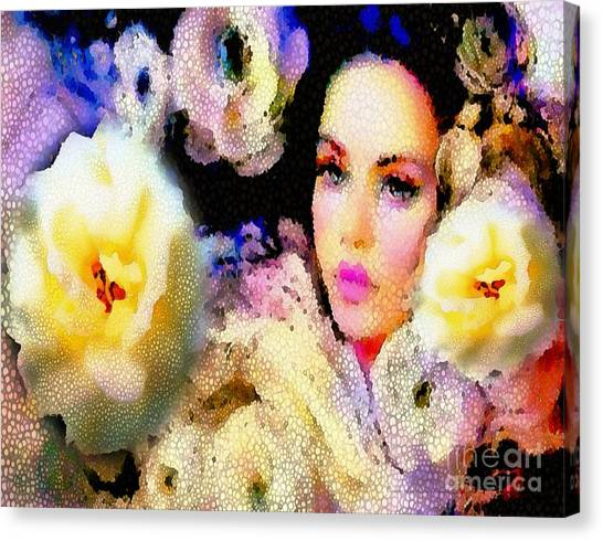 Floral Mosaic She In Thick Paint Canvas Print