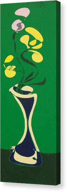 Floral On Green Canvas Print