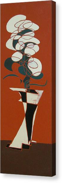 Floral On Red Canvas Print