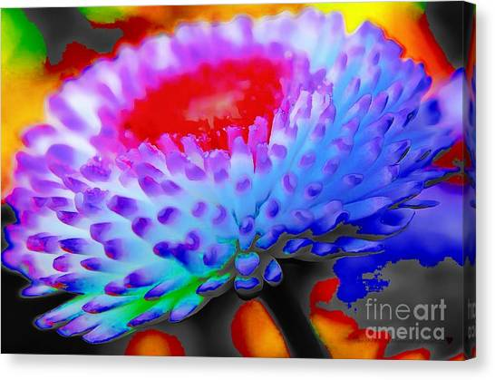 Floral Rainbow Splattered In Thick Paint Canvas Print