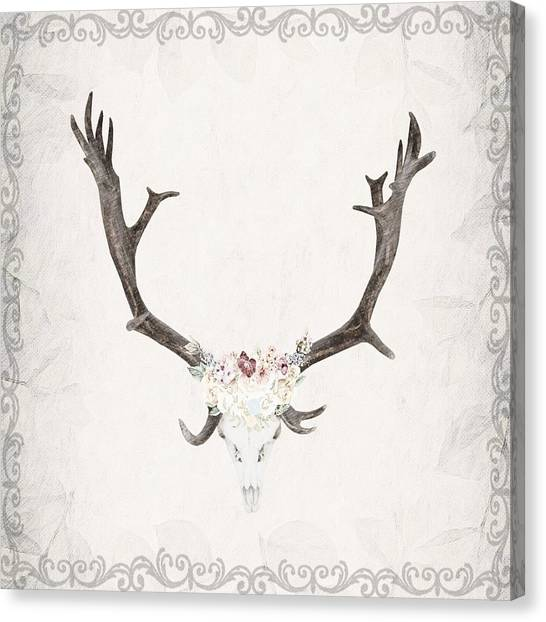 Floral Reindeer Skull  Canvas Print