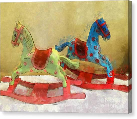 Floral Rocking Horses Canvas Print