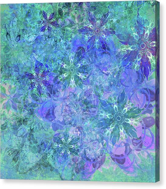 Floral Watercolor Blue Canvas Print