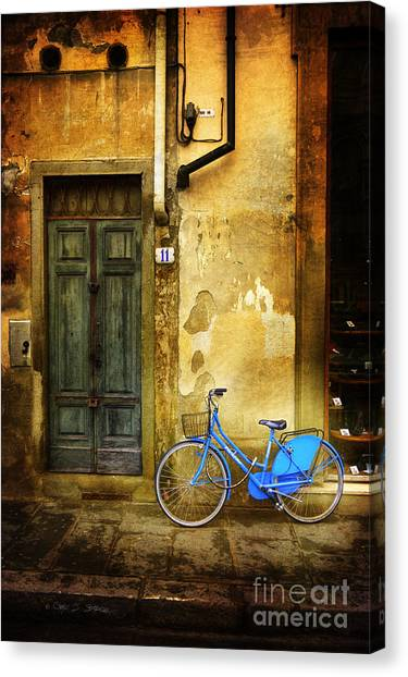 Florence Blue Bicycle Canvas Print