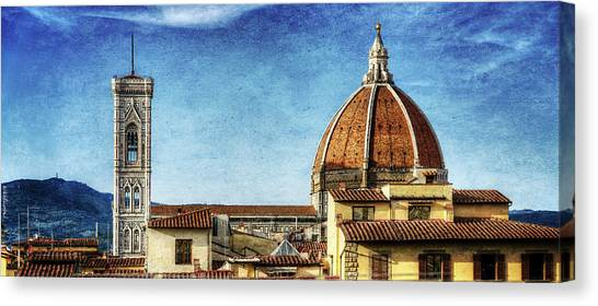 The Uffizi Gallery Canvas Print - Florence - Duomo And Rooftops - Vintage Version by Weston Westmoreland