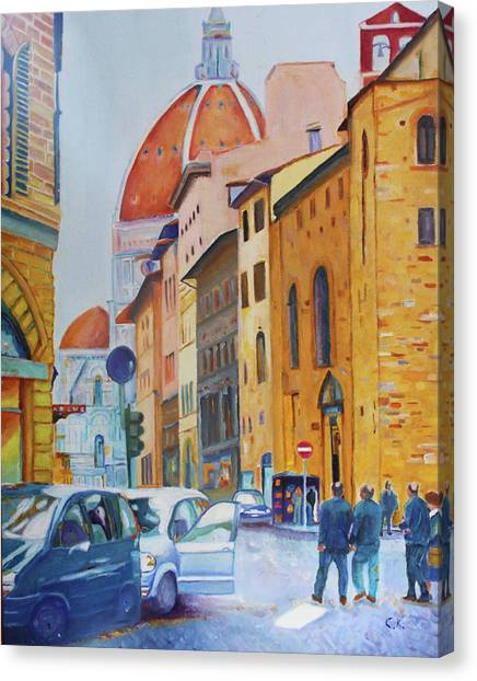 Florence Going To The Duomo Canvas Print