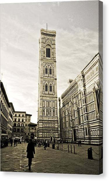 Florence Square With Giotto Canvas Print by Emilio Lovisa