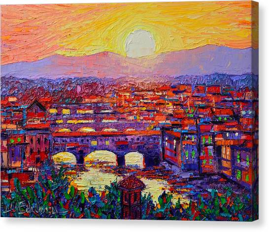 Florence Sunset Over Ponte Vecchio Abstract Impressionist Knife Oil Painting By Ana Maria Edulescu Canvas Print