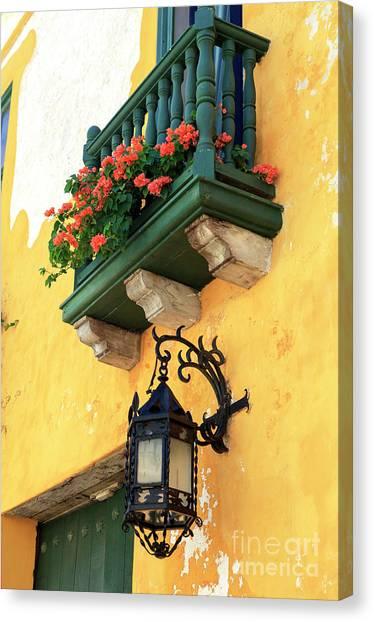 Flores Rojas En Cartagena Canvas Print by John Rizzuto