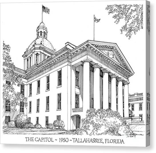 Florida Capitol 1950 Canvas Print