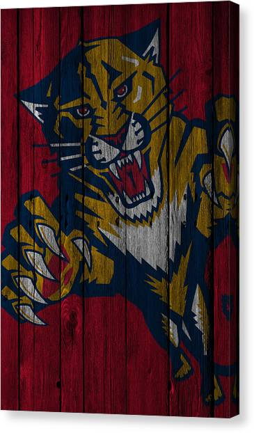 Florida Panthers Canvas Print - Florida Panthers Wood Fence by Joe Hamilton