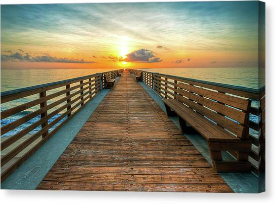 Florida Pier Sunrise Canvas Print