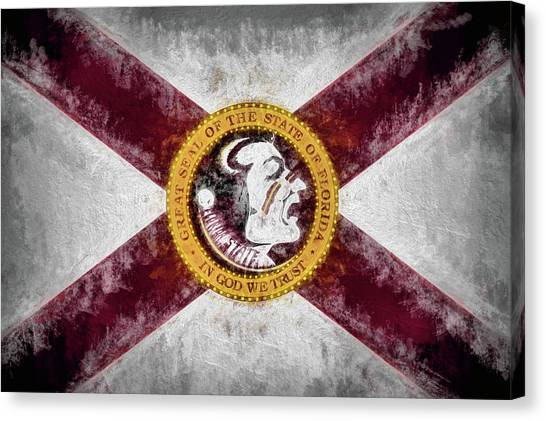 Florida State Fsu Canvas Print - Florida State Flag by JC Findley