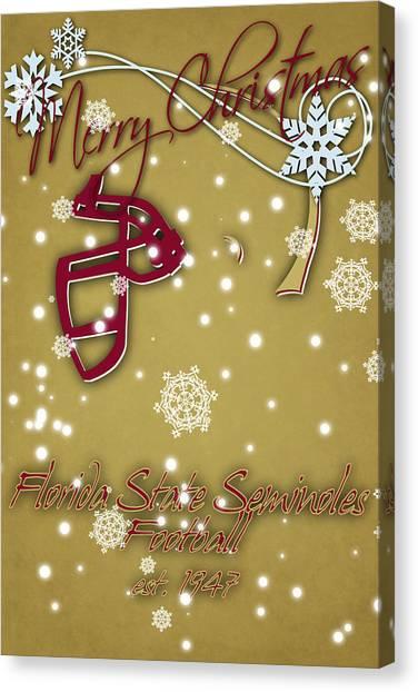 Florida State Canvas Print - Florida State Seminoles Christmas Card 2 by Joe Hamilton