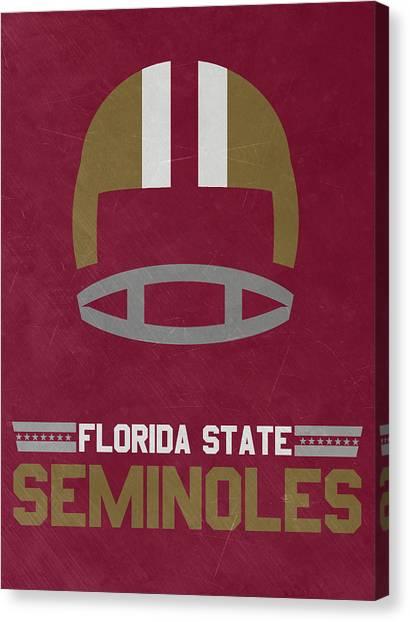 Florida State Canvas Print - Florida State Seminoles Vintage Football Art by Joe Hamilton