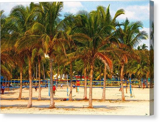 Volleyball Canvas Print - Florida Style Volleyball by David Lee Thompson