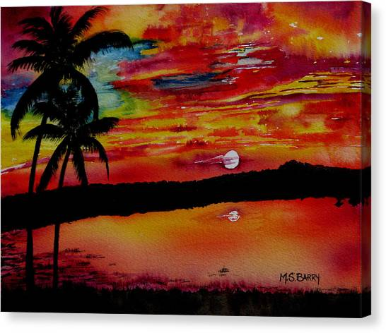 Palm Trees Sunsets Canvas Print - Florida Sunset by Maria Barry