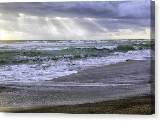 Florida Treasure Coast Beach Storm Waves Canvas Print