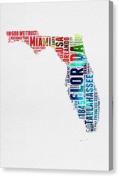 Florida Canvas Print - Florida Watercolor Word Cloud Mao by Naxart Studio