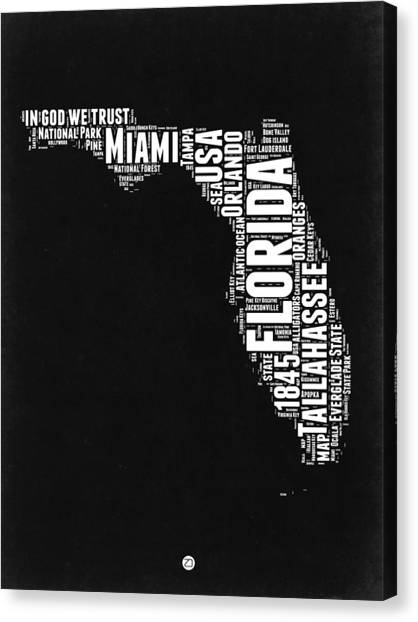 Florida Map Canvas Print - Florida Word Cloud Black And White Map by Naxart Studio