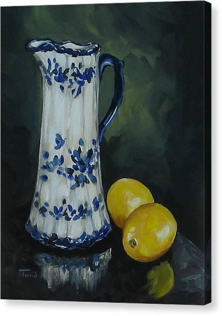 Flow Blue And Lemons  Canvas Print