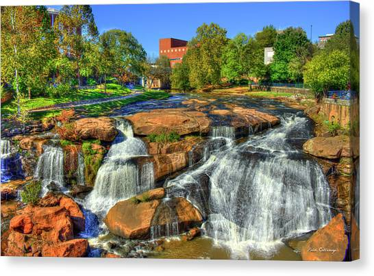 Flow On Reedy River Falls Park Art Greenville South Carolina Art Canvas Print