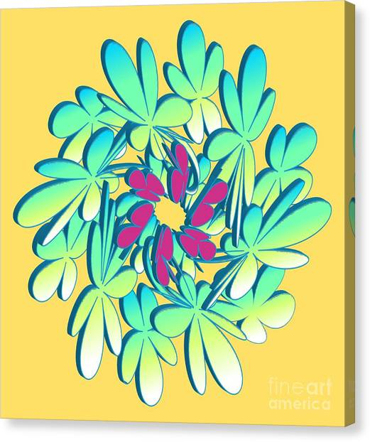 Canvas Print featuring the digital art Flower 91417 - Abstract Art Print - Fantasy - Digital Art - Fine Art Print - Flower Print by Ron Labryzz