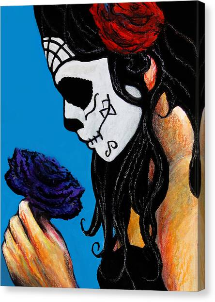 La Catrina Con La Flor Canvas Print