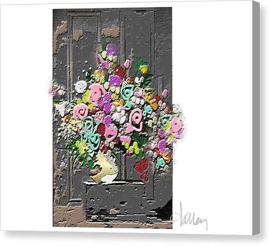 Canvas Print featuring the mixed media Flower Arrangement by Larry Talley