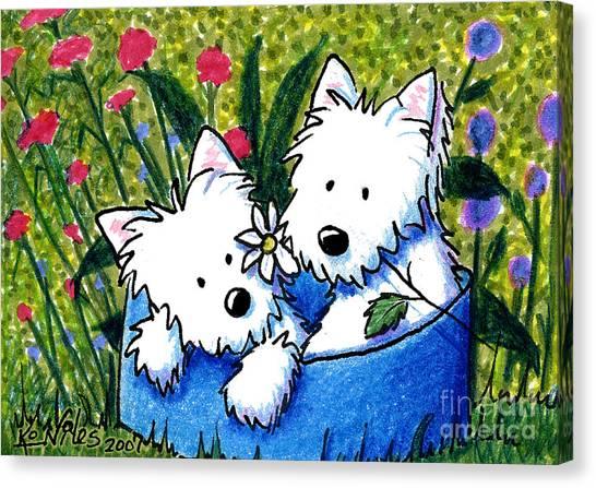 Flower Bed Westies Canvas Print