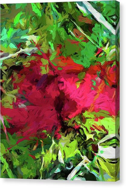 Flower Christmas Red Green Pink Canvas Print