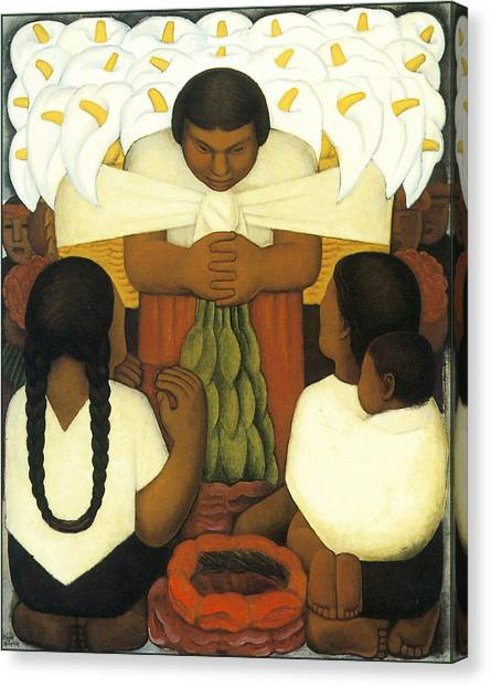Easter Baskets Canvas Print - Flower Day by Diego Rivera