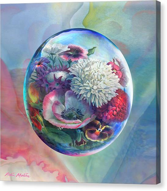 Rain Drops Canvas Print - Flower Drop Blues by Robin Moline