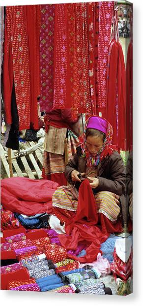 Canvas Print - Flower Hmong Fabric Stall by Rick Piper Photography