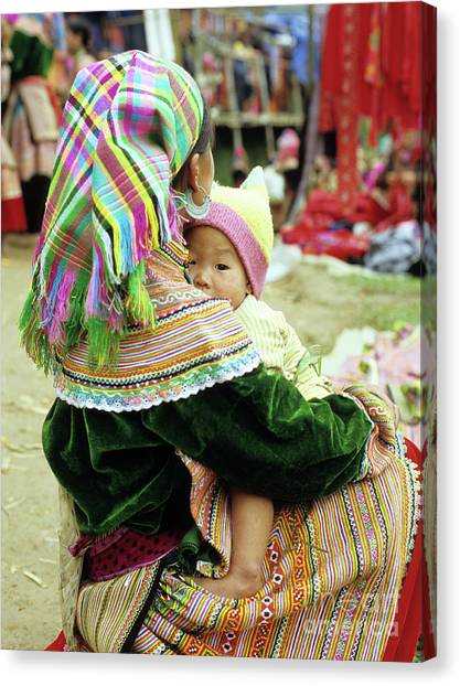 Canvas Print - Flower Hmong Mother And Baby 02 by Rick Piper Photography