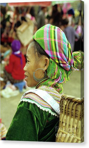 Canvas Print - Flower Hmong Woman 05 by Rick Piper Photography