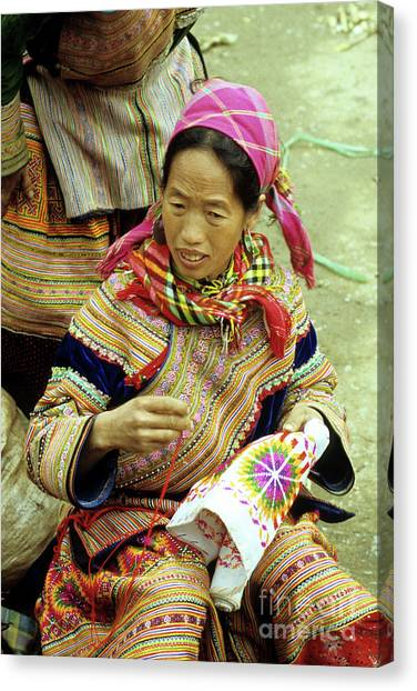 Canvas Print - Flower Hmong Woman 06 by Rick Piper Photography