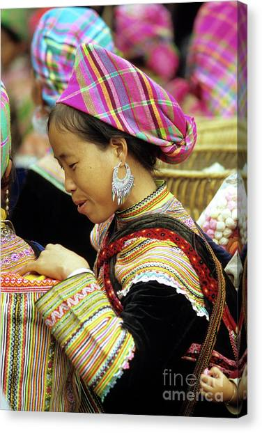 Canvas Print - Flower Hmong Woman 07 by Rick Piper Photography