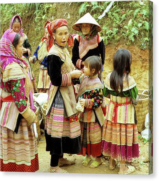 Canvas Print - Flower Hmong Women And Girls by Rick Piper Photography
