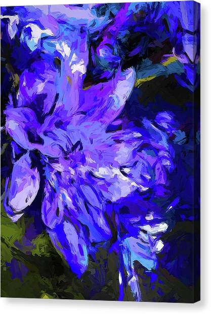 Flower Lavender Lilac Cobalt Blue Canvas Print