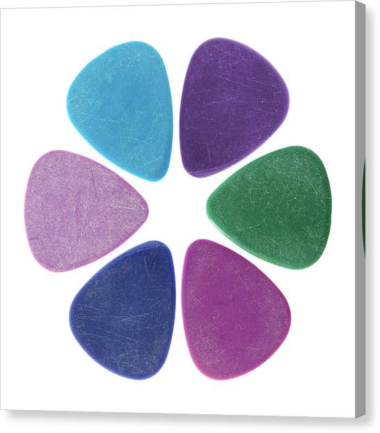 Guitar Picks Canvas Print - Flower Made Of Guitar Picks by GoodMood Art
