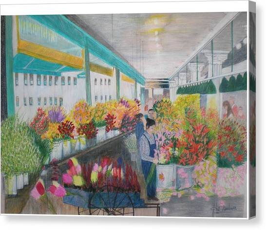 Flower Market Canvas Print by Hal Newhouser