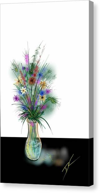 Canvas Print featuring the digital art Flower Study One by Darren Cannell