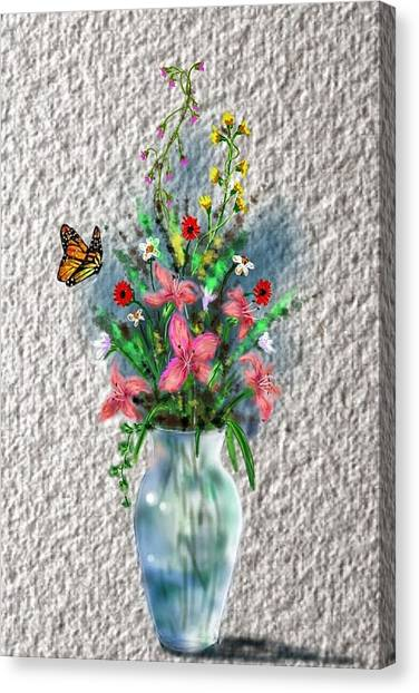 Canvas Print featuring the digital art Flower Study Three by Darren Cannell