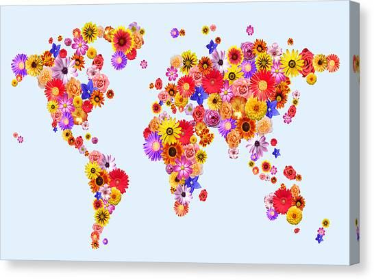 Dahlias Canvas Print - Flower World Map by Michael Tompsett