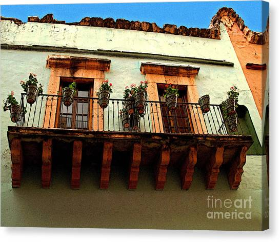 Flowered Balcony Canvas Print by Mexicolors Art Photography