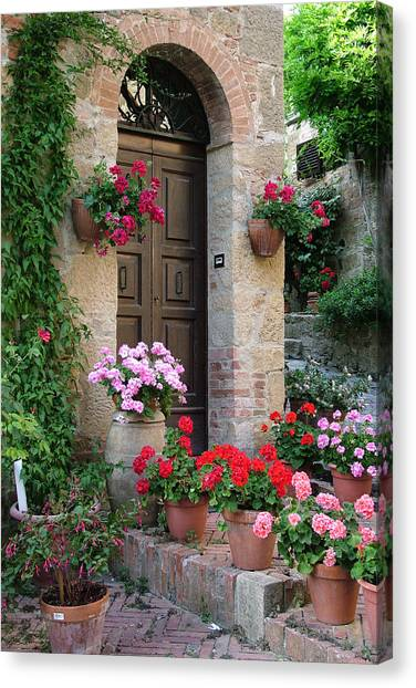 Flowered Montechiello Door Canvas Print